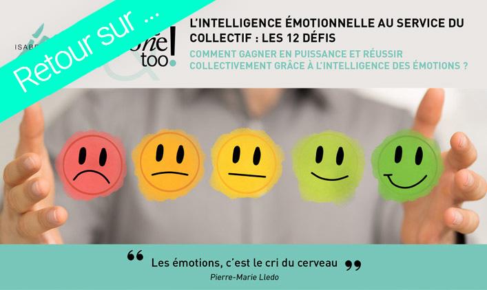 """image reprenant le visuel du webinaire sur l'intelligence émotionnelle, avec un bandeau indiquant """"retour sur ..."""""""