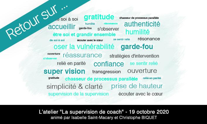 Nuage de mots atelier supervision pour coachs certifiés par l'EMCC et Attitudes et Conseils
